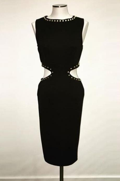Black Sheath Short Cocktail Dress Party Dress, With Cut Out Waist
