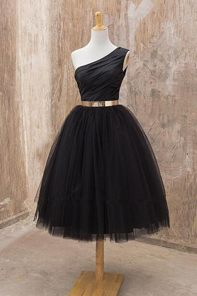 Black One Shoulder Midi Length Tulle Cocktail Dress, Party Dress With Gold Belt