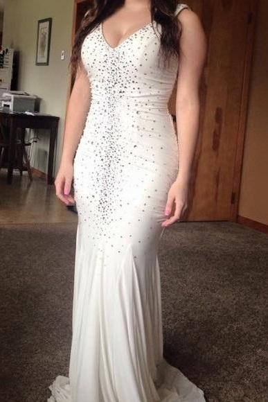 Beaded Ivory V Neck Jersey Mermaid Prom Dress , Formal Gown With V Back