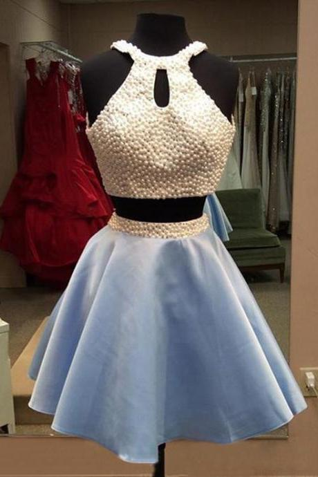 Halter Two Piece Cocktail Dress , Homecoming Dress With Pearls Crop Top