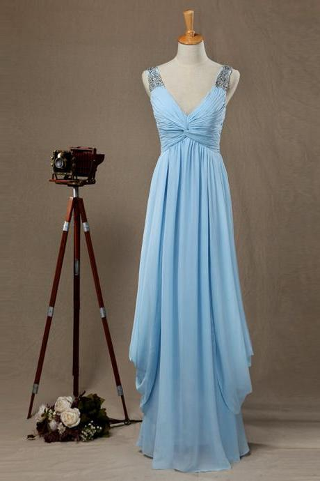 Light Blue V Neck Sleeveless Draped Bodice Long Party Dress , Bridesmaid Dress With Straps