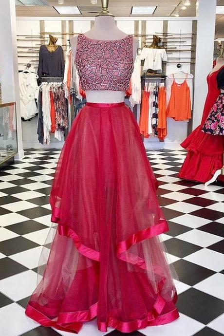 Red Tulle Two Piece Prom Dress , Formal Gown, Sequined Crop Top