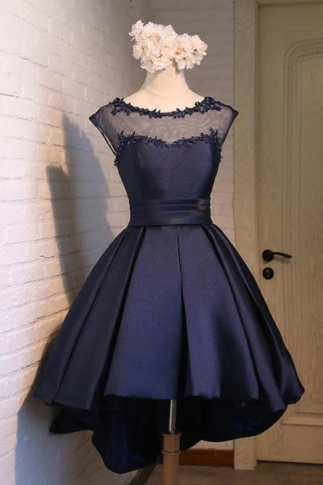 Navy Blue Illusion Cap Sleeve Homecoming Dress,Cocktail Dress High Low Skirt