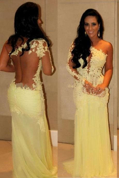 Yellow One Shoulder Mermaid Prom Dress , Formal Gown With Lace Appliques, Sheer Back
