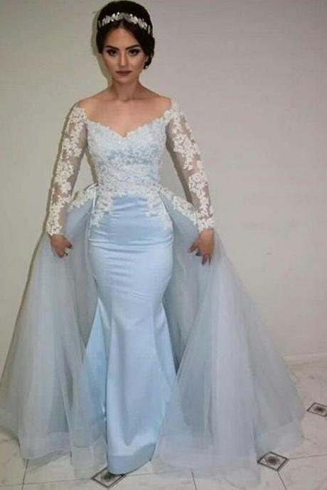 Light Blue Off The Shoulder Formal Gown, Mermaid Pageant Dress With Lace Appliques