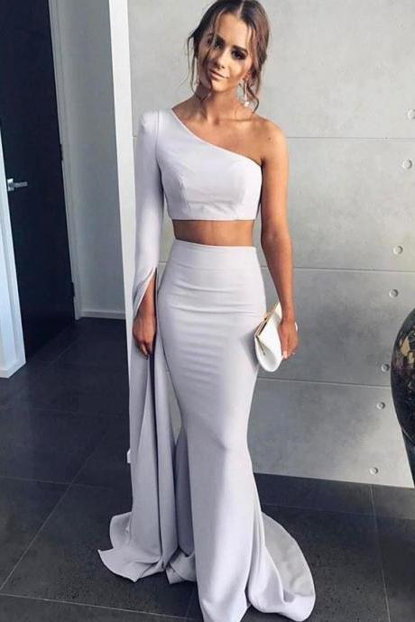 One Shoulder Two Piece Prom Dress, Mermaid Formal Prom Gown With Long Sleeve