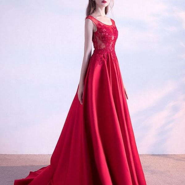 Red Bateau Satin Prom Dress,Cap Sleeve A Line Pageant Gown With Lace Appliqeus