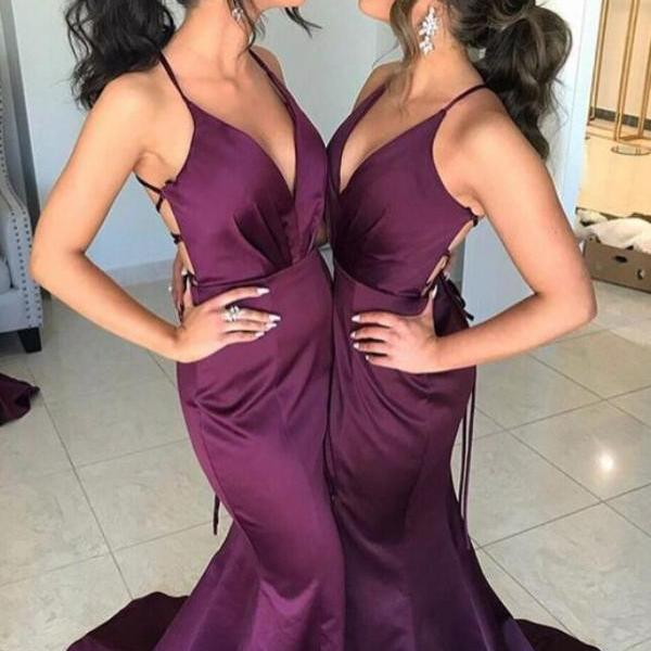 Sexy V Neck Formal Evening Gown Plum Purple Mermaid Prom Dress With Open Back