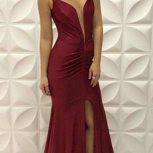 Burgundy Sexy Plunging V Neck Formal Evening Gown Jersey Mermaid Prom Dress With Slit Skirt