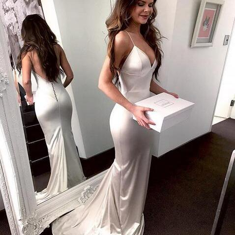 Ivory Sexy Mermaid Formal Evening Gown V Neck Prom Dress ,Party Dress With Low Back
