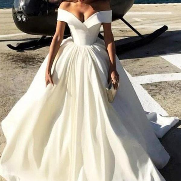 Princess Ivory White Formal Gown Off The Shoulder Ball Gown Prom Dress Satin Wedding Dress