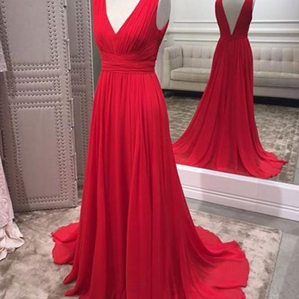 Red V Neck Evening Dresses For Women Formal, Chiffon Party Dress With Sweep Train