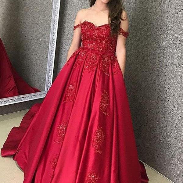Gorgeous Red Off The Shoulder Prom Dress A Line Formal Evening Gown With Beaded Lace Appliques