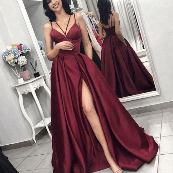 2019 New Arrival V Neck Prom Dress Burgundy High Slit A Line Formal Gown With Spaghetti Straps