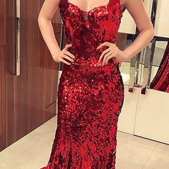2019 New Arrivals Sequined Sweetheart Formal Evening Gown Red Mermaid Prom Dress With Straps