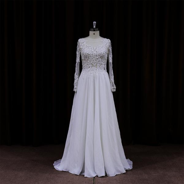Chiffon Open Back Wedding Dress With Sheer Long Sleeves And Lace Bodice