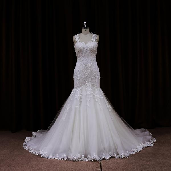 2015 Hot Sale Lace Mermaid Wedding Dress With Sheer Lace Back