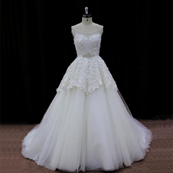 2015 Tulle And Lace Illusion Neckline Ball Gown Wedding Dress With Chapel Train