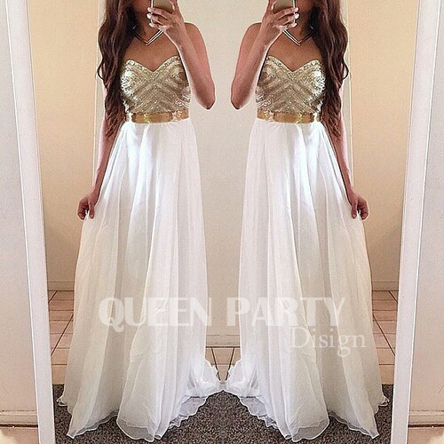 White Chiffon Sweetheart Prom Gown Party Dress With Beading
