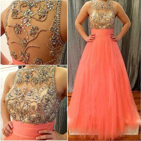 2016 Coral Tulle Sleeveless A Line Prom Dress With Beaded Nude Bodice