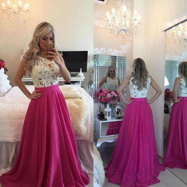 2016 Gorgeous Lace / Chiffon A Line Formal Prom Gown With Pearls