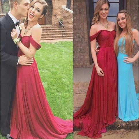 Wine Red Off The Shoulder Chiffon Long Prom Dress With Draped Bodice